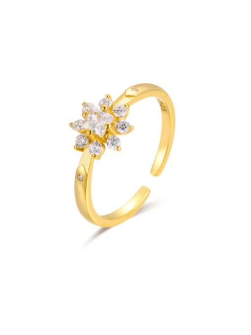 Boomer Cat 925 Sterling Silver Cubic Zirconia Flower Minimalist Band Ring