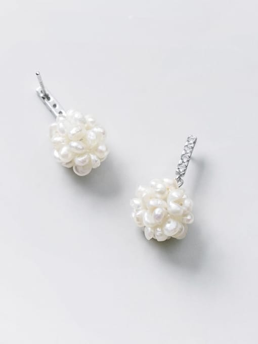 Rosh 925 Sterling Silver Imitation Pearl Ball Minimalist Stud Earring 1