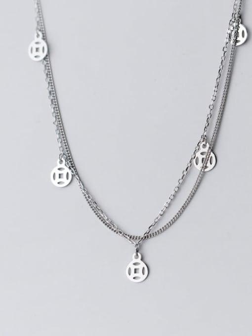 Rosh 925 Sterling Silver Coin Vintage Multi Strand Necklace 1
