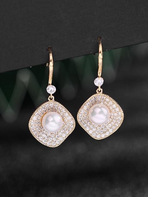 Luxu Brass Cubic Zirconia Geometric Dainty Hook Earring 1