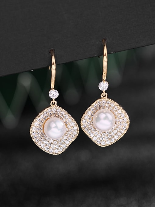 golden Brass Cubic Zirconia Geometric Dainty Hook Earring