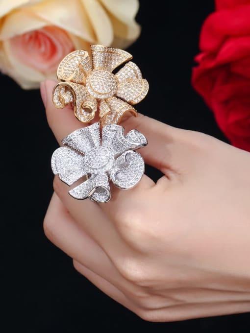 L.WIN Brass Cubic Zirconia Flower Luxury Statement Ring 1