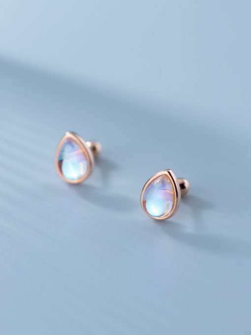 Rosh 925 Sterling Silver Opal Water Drop Minimalist Stud Earring 2