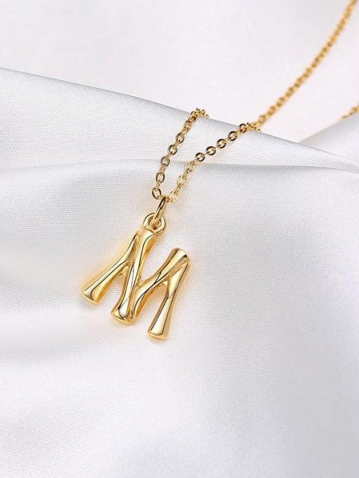 CONG Titanium Steel  26 Letter Minimalist  Pendant Necklace 3