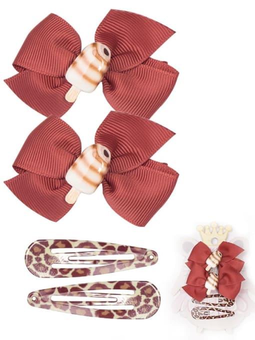 11 chocolate ice cream set Alloy Yarn Cute Bowknot  Multi Color Hair Barrette