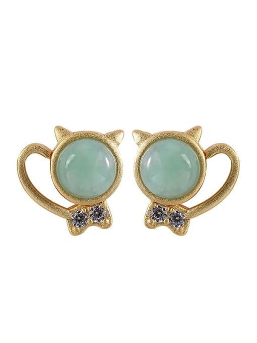 DEER 925 Sterling Silver Jade Cat Cute Stud Earring 3
