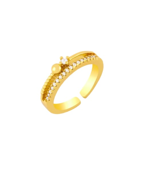 CC Brass Cubic Zirconia Key Vintage Band Ring 1