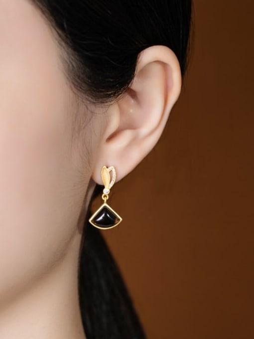 DEER 925 Sterling Silver Citrine Triangle Vintage Drop Earring 1