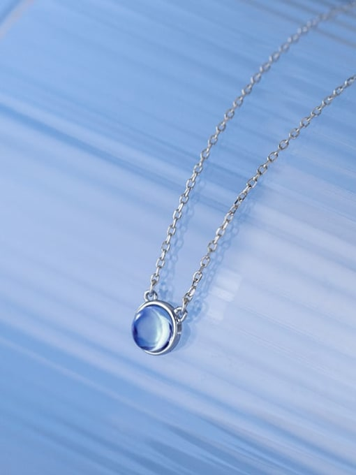 Rosh 925 Sterling Silver Glass Stone Round Minimalist Necklace 2