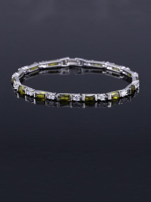 Olive green 17.5+ 2.2cm Brass Cubic Zirconia Geometric Classic Bracelet