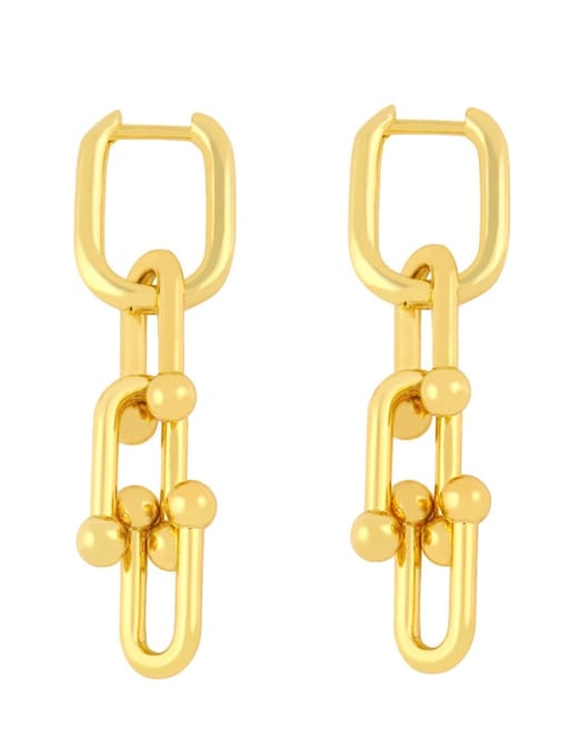 CC Brass Hollow Geometric Vintage Drop Earring