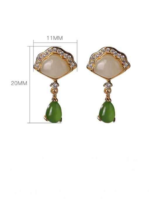 DEER 925 Sterling Silver Jade Triangle Vintage Drop Earring 3