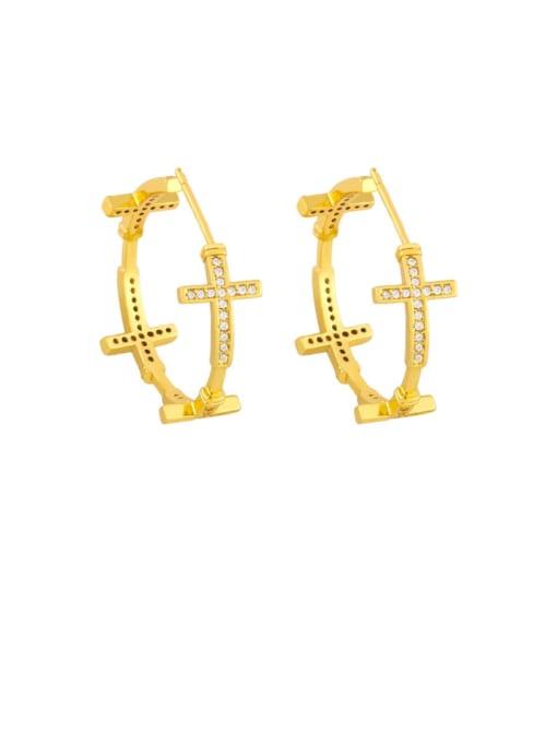 cross Brass Cubic Zirconia Cross Vintage Stud Earring