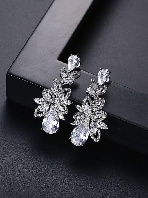 BLING SU Brass Cubic Zirconia Flower Statement Cluster Earring 2