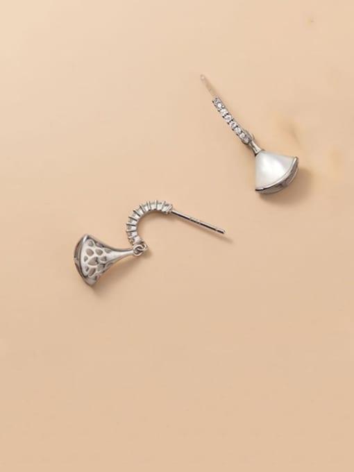 Silver 925 Sterling Silver Shell Irregular Minimalist Drop Earring