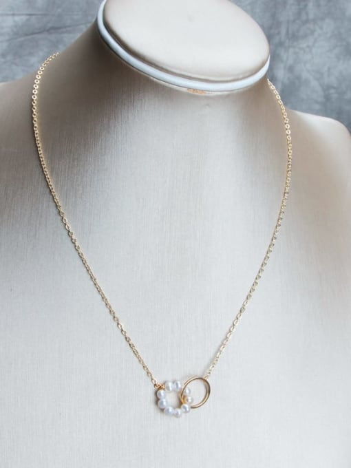 Gold+white Brass Freshwater Pearl Geometric Minimalist Necklace