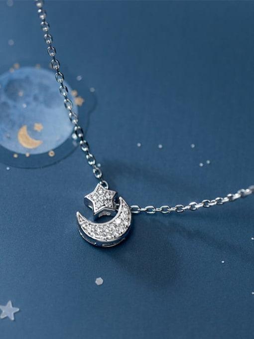Rosh 925 Sterling Silver Cubic Zirconia Moon Minimalist Necklace 1