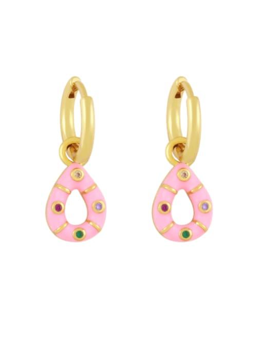 Pink Brass Rhinestone Enamel Water Drop Vintage Huggie Earring
