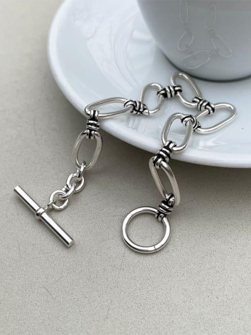 Boomer Cat 925 Sterling Silver Hollow Geometric Vintage Link Bracelet 1