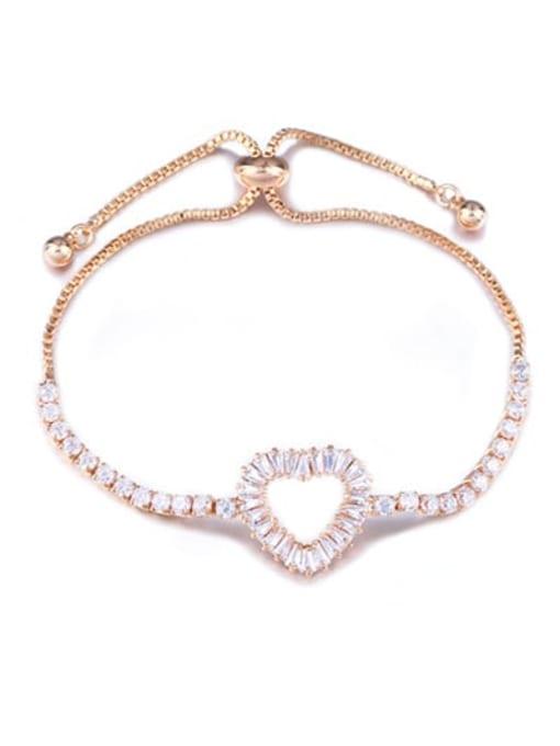 CC Brass Cubic Zirconia Heart Dainty Adjustable Bracelet 2