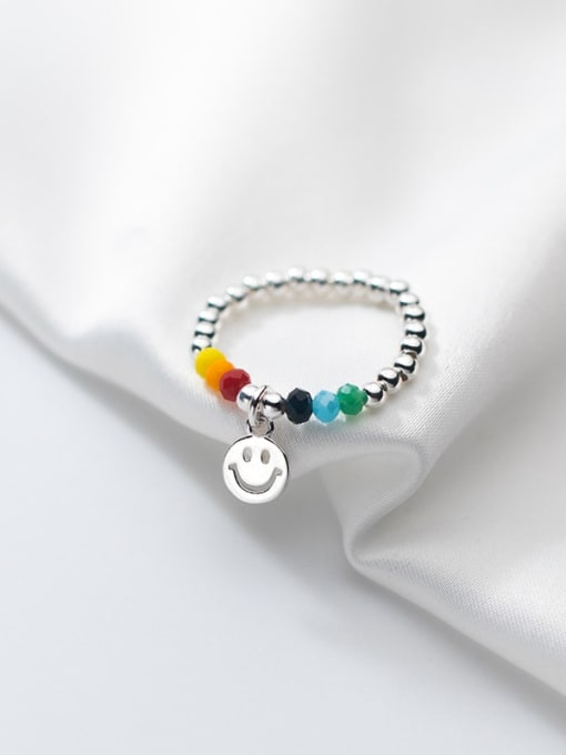 Rosh 925 Sterling Silver Bead Smiley Minimalist Band Ring 1