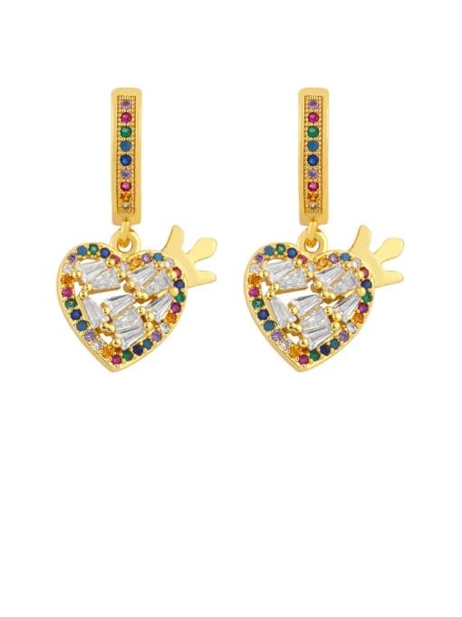CC Brass Cubic Zirconia Heart Vintage Drop Earring 1