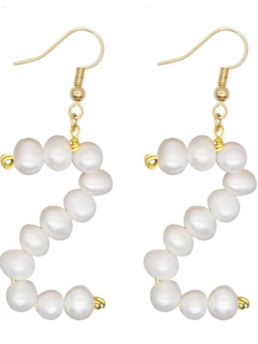 ZZ E200079Z Stainless steel Freshwater Pearl Letter Ethnic Drop Earring