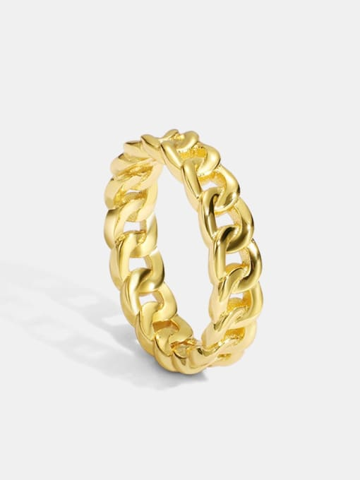 CHARME Brass Hollow Geometric Chain Vintage Band Ring 0