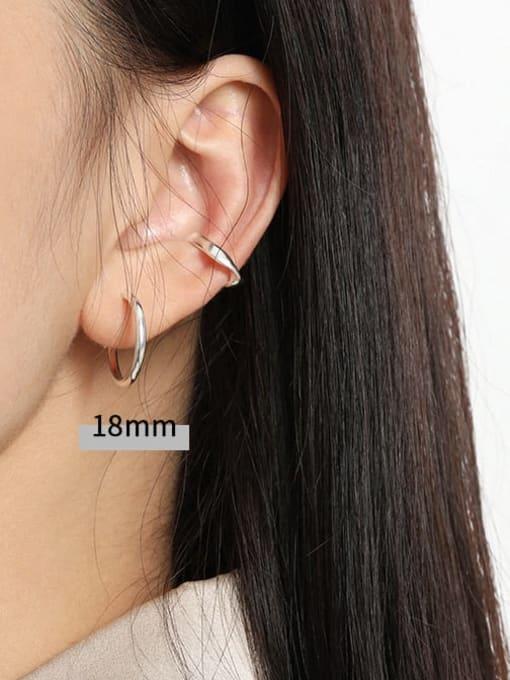 DAKA 925 Sterling Silver Smooth Round Minimalist Hoop Earring 2