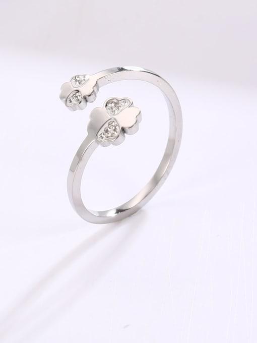 MIYA Titanium Steel Rhinestone Flower Minimalist Band Ring 2