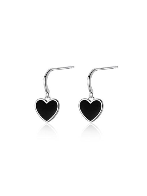 Rosh 925 Sterling Silver Enamel Heart Vintage Stud Earring 2