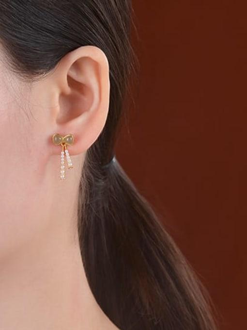 DEER 925 Sterling Silver Jade Butterfly Vintage Drop Earring 1