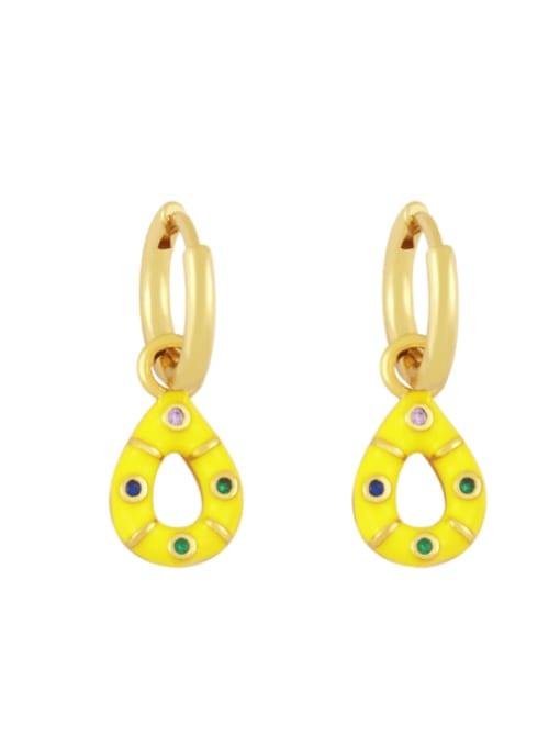 yellow Brass Rhinestone Enamel Water Drop Vintage Huggie Earring