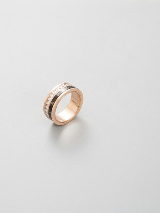 MIYA Stainless steel Enamel Rhinestone Round Minimalist Stackable Ring 1