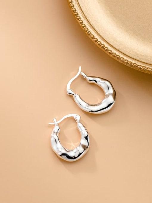 Rosh 925 Sterling Silver Irregular Minimalist Huggie Earring