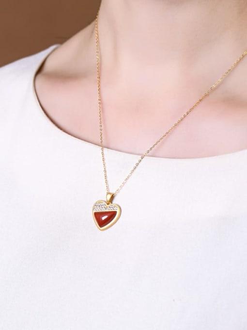 DEER 925 Sterling Silver Carnelian Minimalist Heart Pendant 1