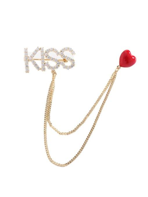 golden Brass Cubic Zirconia Heart  Tassel Minimalist Brooch
