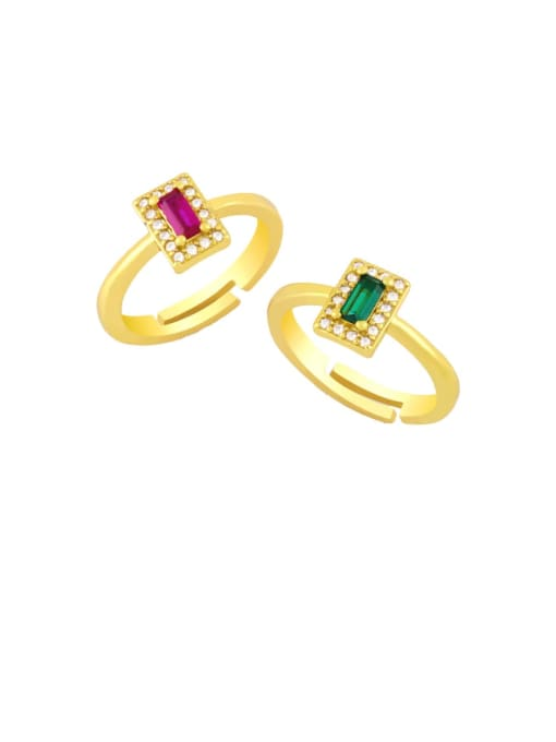 CC Brass Cubic Zirconia Geometric Minimalist Band Ring
