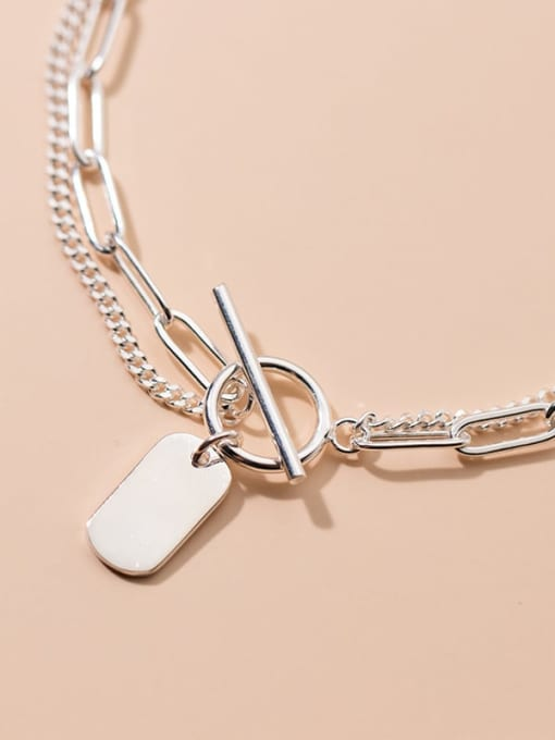Rosh 925 Sterling Silver Geometric Minimalist Strand Bracelet 2