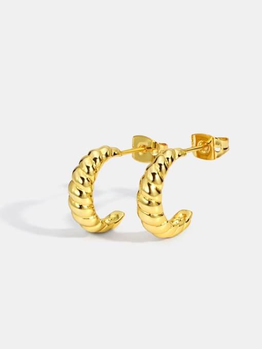 CHARME Brass Twist Irregular Vintage Stud Earring 2