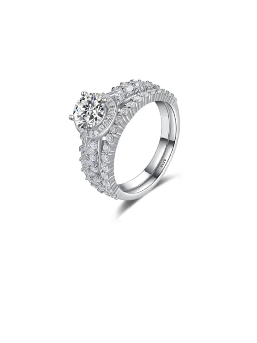 CCUI 925 Sterling Silver Cubic Zirconia Geometric Dainty Stackable Ring 0