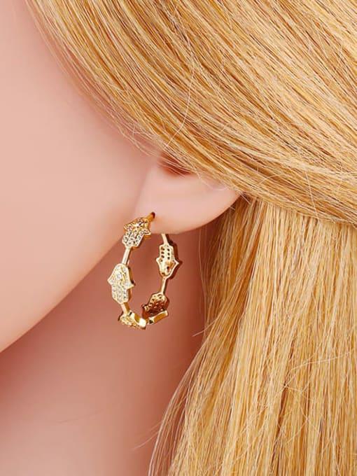CC Brass Cubic Zirconia Cross Vintage Stud Earring 1