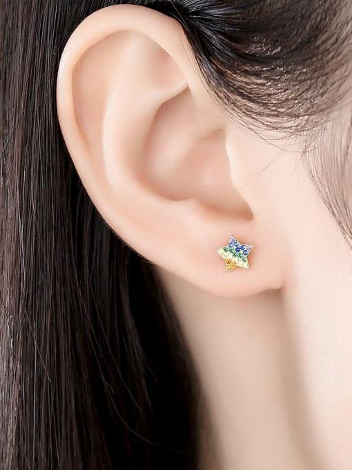 CCUI 925 Sterling Silver Cubic Zirconia Star Dainty Stud Earring 1