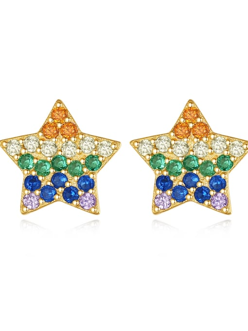 CCUI 925 Sterling Silver Cubic Zirconia Star Dainty Stud Earring