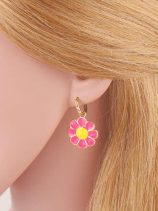 CC Brass Enamel Flower Minimalist Huggie Earring 4