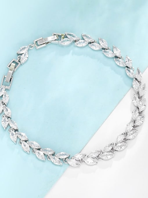 Platinum gold white zirconium Brass Cubic Zirconia Multi Color Leaf Dainty Bracelet