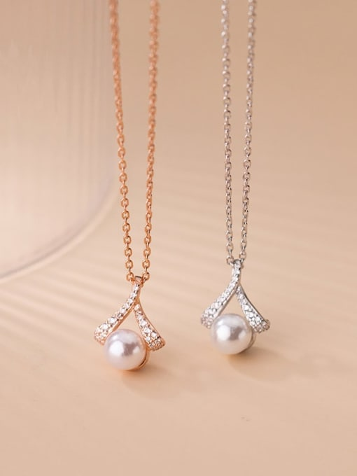 Rosh 925 Sterling Silver Imitation Pearl Triangle Minimalist Necklace 2