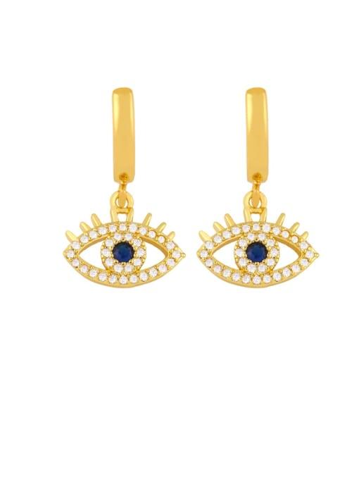 a Brass Cubic Zirconia Evil Eye Dainty Huggie Earring