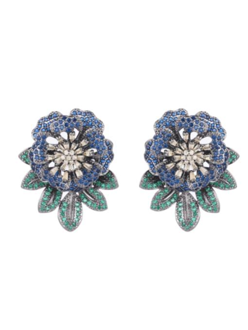 Luxu Brass Cubic Zirconia Flower Vintage Drop Earring 3