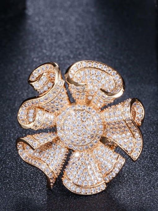 gold US 7 Brass Cubic Zirconia Flower Luxury Statement Ring